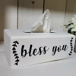 Rustic White Bless You Kleenex Box